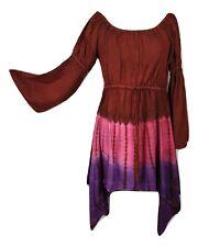 Boho Festival Fairy Dress Tie Dye Tunic Asymmetric Red Pink One Size 12 14 16 18