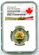2019 $2 CANADA NGC GEM UNC COLOR TOONIE 75TH D-DAY TWO DOLLAR FIRST RELEASES