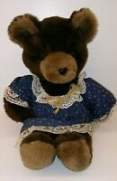 Vtg Wilkinson MFG Wilko Plush Teddy Bear In Prairie Dress