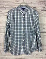 Banana Republic Men's Blue / Green / White Plaid Soft Wash Slim Fit Shirt Size L