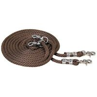 """Weaver Poly Draw Reins 1/2 """" x 16' with Nickel Plated Hardware Brown"""