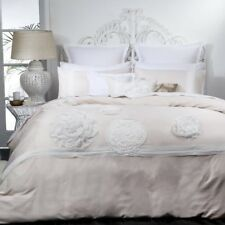 LOGAN & MASON PLATINUM TIFFANY BLUSH LARGE FABRIC FLOWERS QUILT COVER SET KING