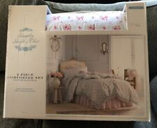 Nwe Simply Shabby Chic 2pc Blue & Pink Floral Window Box Twin Comforter Set