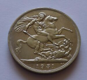Great Britain 1 Crown 1951 / Five Shillings 1951, St. George slaying the dragon