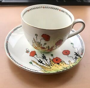 Crown Ducal Poppy Larger Sized Cup and Saucer