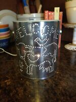 Adorable Vintage Country Primitive Punched Tin Rustic Metal Can Lamp Light