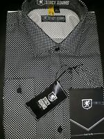 STACY ADAMS BLACK Men'S FIT  FRENCH CUFF Dress Shirt SIZE 16 1/2  34/35