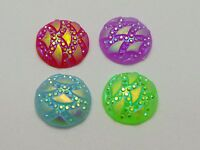 100 Mixed Colour Flatback Resin Round Cabochon Dotted Wave Rhinestone Gem 12mm
