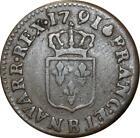 O516 Louis XVI liard de bronze 1791 B Rouen 1er semestre sans points ->FO