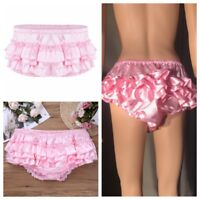 Ruffled Bloomer Sissy Briefs Mens Satin French Maid Skirted panties Underwear