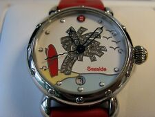 Michele Seaside Collection Satch Palm Tree with Red Silicone Band