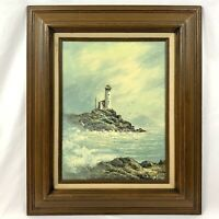 Vintage R THOMPSON Oil Painting Canvas Lighthouse Coast Maritime Nautical Art