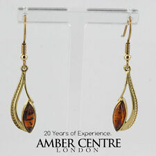 Italian Made Classic Baltic Amber in 9ct Gold Drop Earrings GE0267 RRP£170!!!
