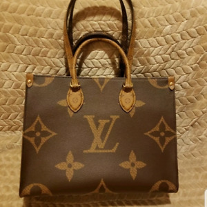LOUIS VUITTON ONTHEGO MM REVERSE MONOGRAM RED TOTE BAG GIANT PRINT