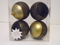 4 Gold & Black 3 Inch Ball Shatter Resistant Christmas Ornament Decoration