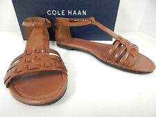 Cole Haan Cady D44472 Woodbury Leather Flat Woven Vamp Sandle W/ Ankle Strap-New