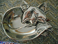 "Metal Polished small ""Raccoon"" Dish - Must See - Outstanding very realistic!"