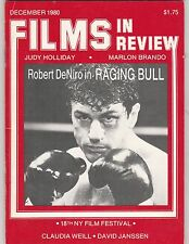FILMS IN REVIEW MAGAZINE,DECEMBER 1980. ROBERT DE NIRO RAGING BULL COVER