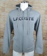Lacoste Sport Mens Hoodie Full Zip Sweater Cotton Blend Gray Size 7 2XL