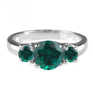 Natural Zambian Green Emerald 3.00Ct Round Cut Solitaire Ring In 14KT White Gold