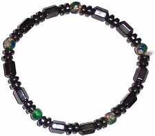 MAGNETIC HAEMATITE and LAMPWORK BEAD BRACELET hematite mg8b