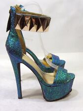 "Metallic 6.5""high heel 2.5""platform open toe ankle strap sexy shoes size 8"