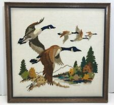 Vintage Needlepoint Framed Art Mallard Ducks Mountain Scene