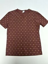 Vintage MOSCHINO Mare Brown Medium Slim V-Neck Shirt Spell-out Polyamide Italy
