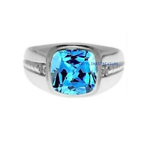 Natural Blue topaz & CZ With Gemstone 925 Sterling Silver Ring For Men's
