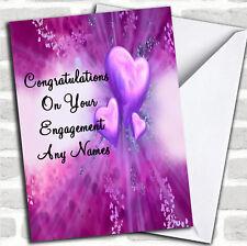 Purple Hearts Romantic Engagement Customised Card
