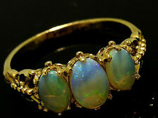 R097- Genuine 9ct Yellow Gold NATURAL Solid Opal Trilogy Ring Anniversary size N