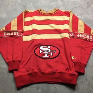 SAN FRANCISCO 49er 90s VTG STARTER Sweatshirt Heavy GOLD Embroidered L Jacket