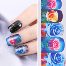 Nail Art Water Decals Stickers Transfers BLUE Roses Flowers Gel Polish (561)