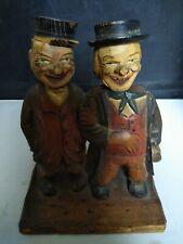 Vintage Italian hand Carved Wood men Figure Bar Set Wine & Bottle Opener antique