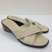 Women's ITALIAN SHOEMAKERS Beige Nude Leather Wedge Heel Sandals Slides Sz 6 EUC
