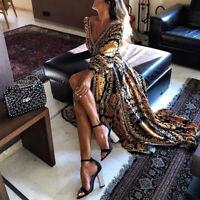 Maxi Dress Short Sleeve V Neck Floral Flowy Front Slit High Low Women Summer