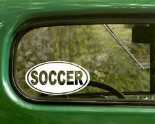 2 SOCCER STICKERs Oval Decal For Car Laptop Truck Bumper Window Rv 4x4 Jeep