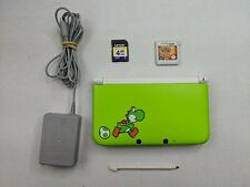 Nintendo 3DS XL Green Yoshi Ed + Charger & 4GB SD CARD + Pokemon Sun Game