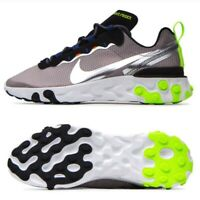 NIKE REACT ELEMENT 55 SE RUNNING SHOES MENS GREY VOLT CI3831-200 SIZE 8 NEW NIB