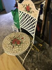 New ListingGarden Chair Ceramic Tile and Iron Very Nice Vintage Antique