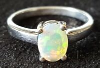 Sterling silver & opal vintage Art Deco antique ring - size O