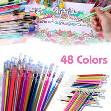 48Pcs Gel Pens Glitter Coloring Drawing Painting Markers Stationery Multi Colors