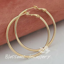 9K 9CT GOLD GF Medium PLAIN Round HOOP EARRINGS Solid ES434 WOMENS Jewellery NEW