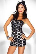 trägerloses Etui-Kleid mit Pailletten Gr. S/M