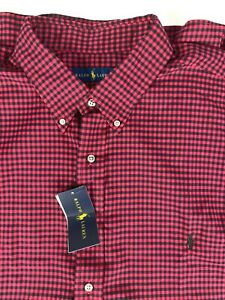 NWT Ralph Lauren Gingham Soft Long Sleeve Shirt sz 2XB Red Black