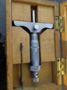 Vintage Moore & Wright Depth Gauge In Box 25mm Vintage Tools Engineering