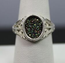 Sterling Silver Multi Color Drusy Ring Size 8.75