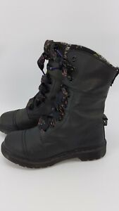 Dr. Martens Aimilita Charcoal Leather Floral Ribbon Lace Boots Women  US 8 READ.