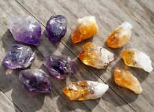10 - SMALL / TINY CRYSTAL POINTS  5 CITRINE * 5 AMETHYST 17mm - 20mm BAG ID CARD