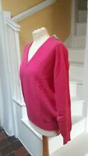 White Of Hawick 100% Geelong Lambswool Pink V-neck Sweater Bmwt Size 40